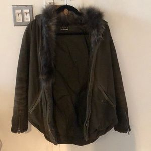 The Kooples Parka Coat with fur trim